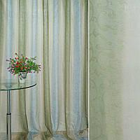 Шифон для штор Вуаль бежево зелен полос