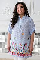 Летняя женская блуза большого размера с вышивкой ФЛОРА ТМ Таtiana 54-60 размер