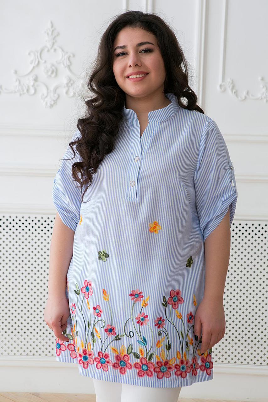 1c563a886fce Летняя женская блуза большого размера с вышивкой ФЛОРА ТМ Таtiana 54-60  размер - Интернет