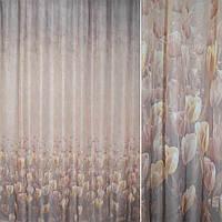 Кристаллон коричневый бежевый тюльпаны ш.275