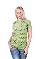 Блуза ажурная разноцветная  Дана салатовый