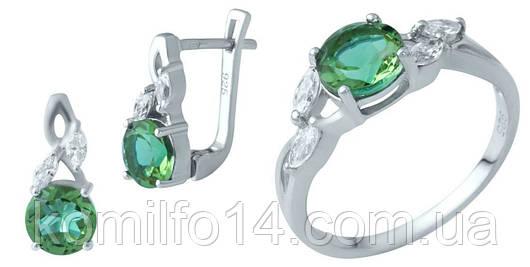 Серебряные серьги и кольцо с натуральным султанитом