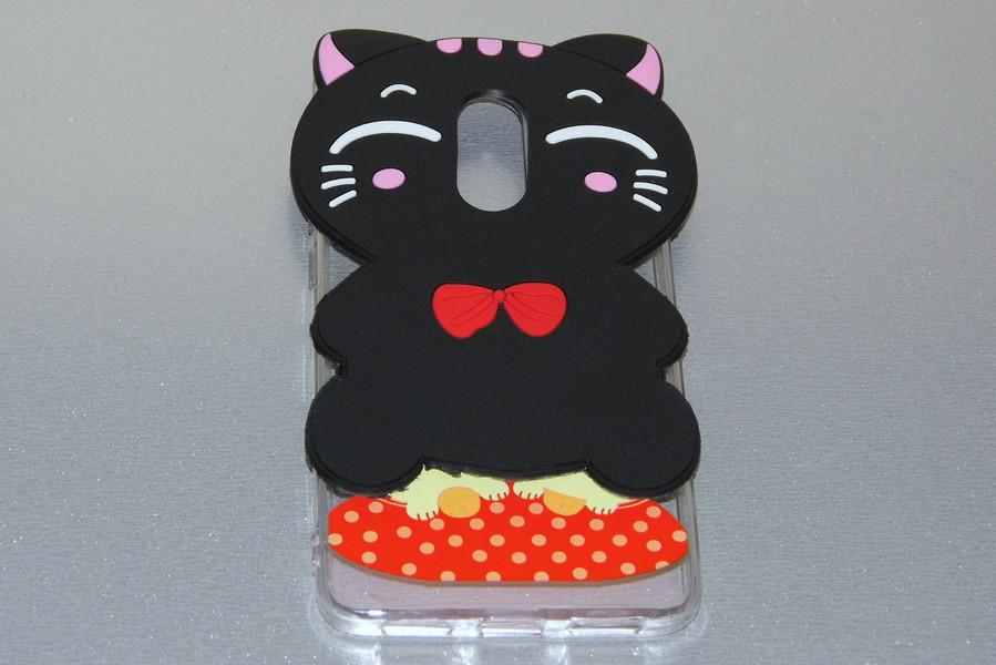3D силиконовый чехол Черный кот с красным бантом Xiaomi Redmi Note 4X