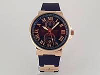 Женские часы - Ulysse Nardin - Le Locle на синем каучуковом ремешке, цвет корпуса золото, синий циферблат