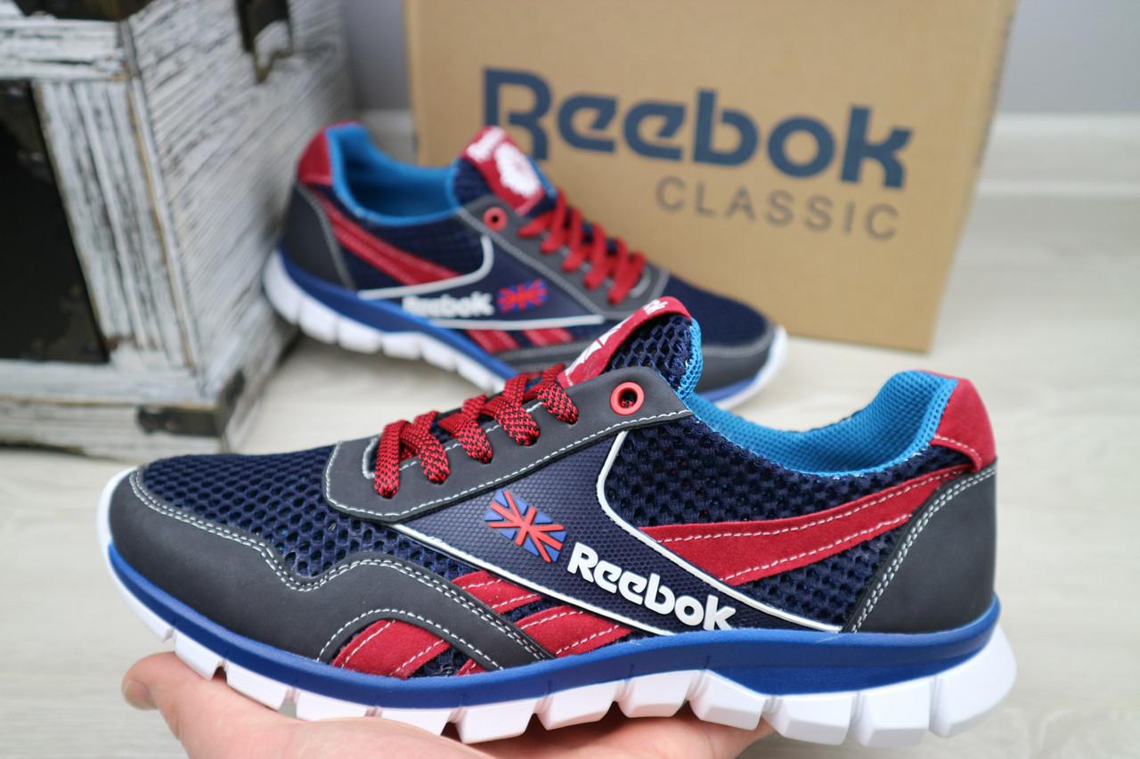 Мужские кроссовки Reebok (синий с красным), ТОП-реплика