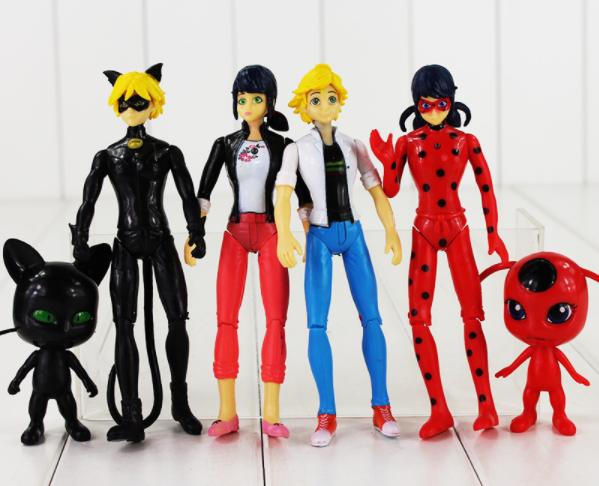 Набор фигурок Леди Баг и Супер Кот 15 см. 6 штук Miraculous Ladybug and Cat Ледибаг