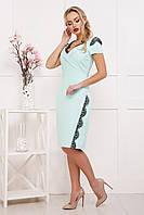 """Офисное женское приталенное платье """"Светла"""" по колено с коротким рукавом мятного цвета"""