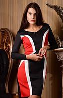 Платье средней длины с белыми и красными вставками 429