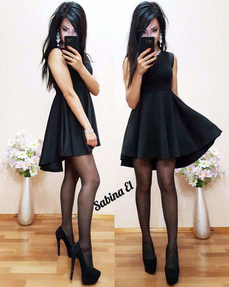 Платье свободное удлиненное сзади высокая талия