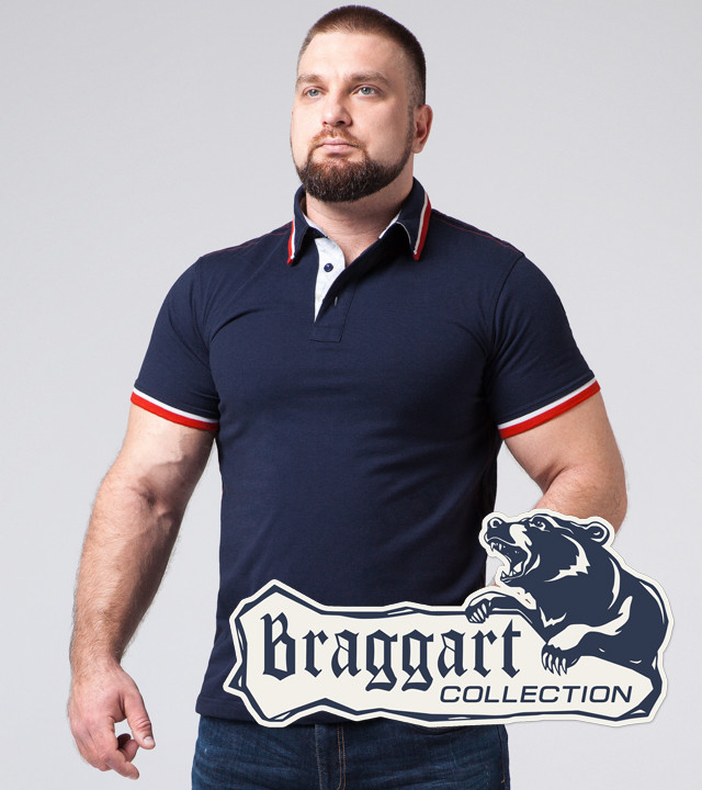 Braggart   Мужская футболка большого размера 17093-1 синий