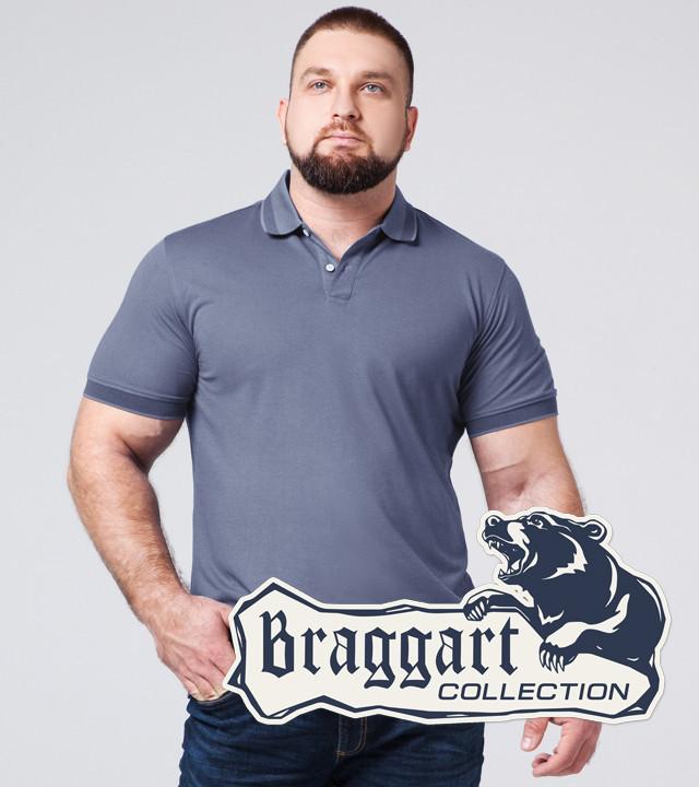 Braggart | Футболка поло большого размера 6637-1A серо-синий