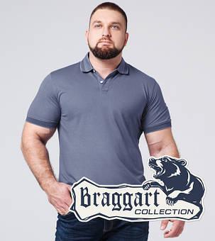 Braggart | Футболка поло большого размера 6637-1A серо-синий, фото 2