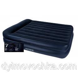 Надувная велюр кровать 64124, 152х203х42 см, с встроенным насосом 220V