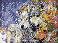 Вышивка бисером - Пара волков