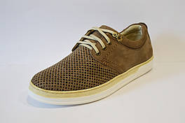 Перфорированные темно-бежевые мужские туфли Konors