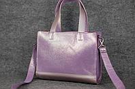 Женская кожаная сумка Kristen с ременной кожей | Лиловый + Розовый, фото 1