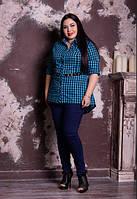 Рубашка в клетку для крупных женщин, с 48-82 размер, фото 1