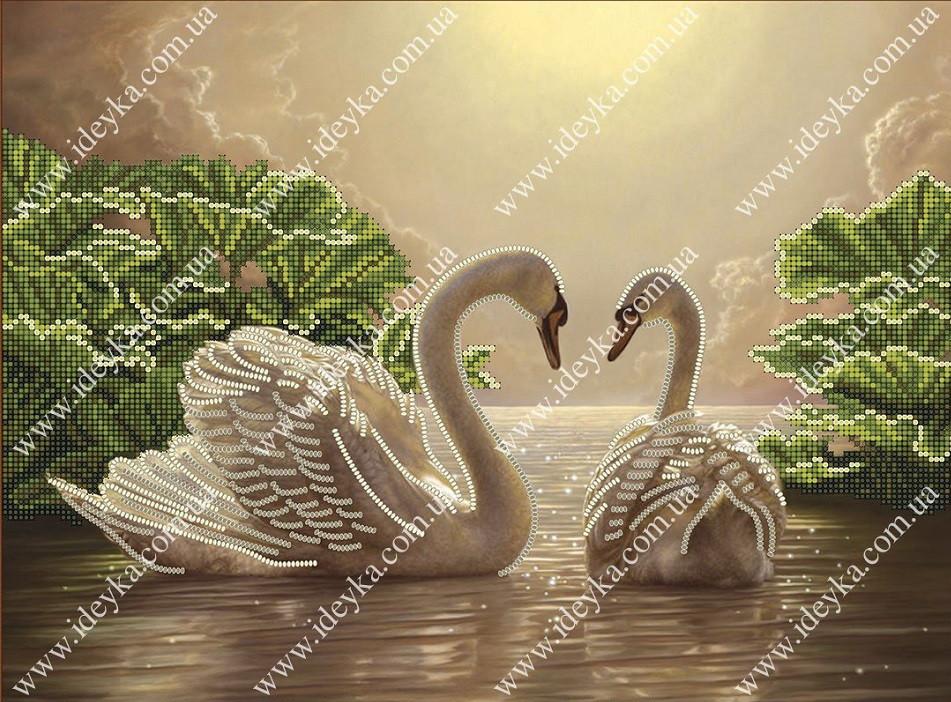 Вышивка бисером - Лебединая пара