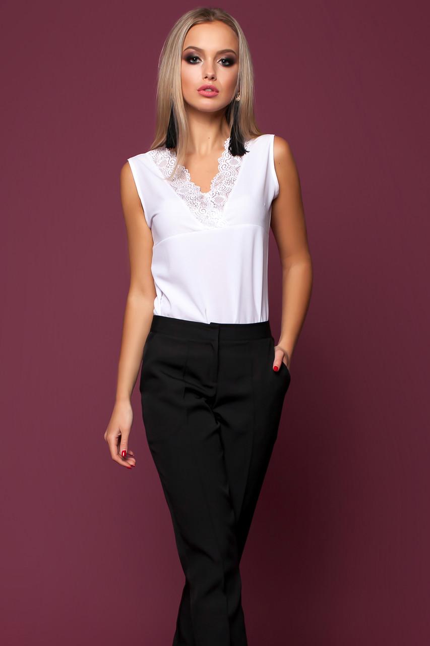 23829b080a7 Красивая Блуза без Рукавов с Тонким Кружевом Белая S-XL - Ukraine In Trend -