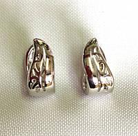 Серьги ажурные кольца, родий, Xuping