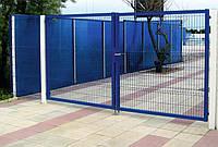 Ворота розпашні 1500*5000 мм (2 стовпа+2 стулки воріт) оц. ПВХ. Колір зелений