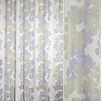 902607491 - Вуаль деворе FUGGERHAUS белая в сиренево-сер. цветы, с утяжелителем, ш.300