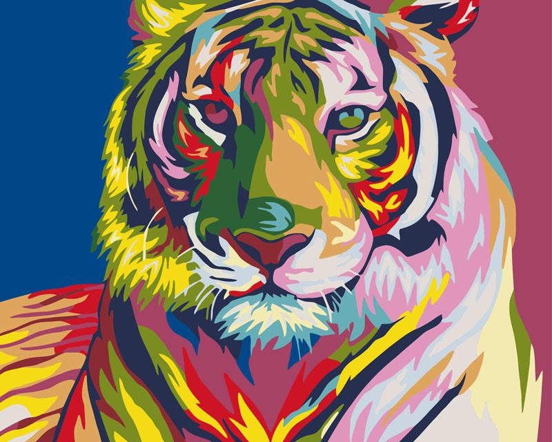 Картины по номерам - Тигр поп - арт