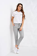Укороченные женские брюки серого цвета