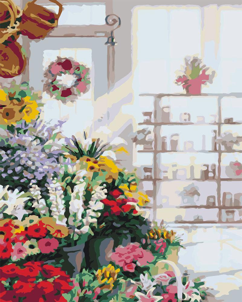 Картина по номерам - В цветочном магазине