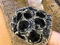 Шапка женская из меха кролика рекс черная с белым