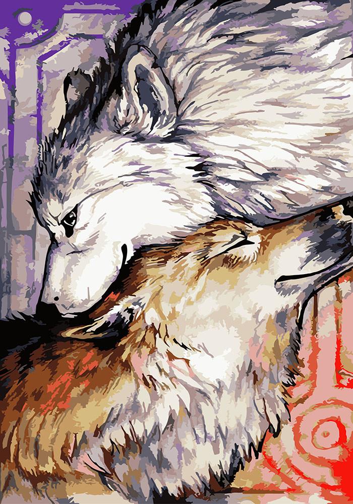Картина по номерам - Пара волков 3