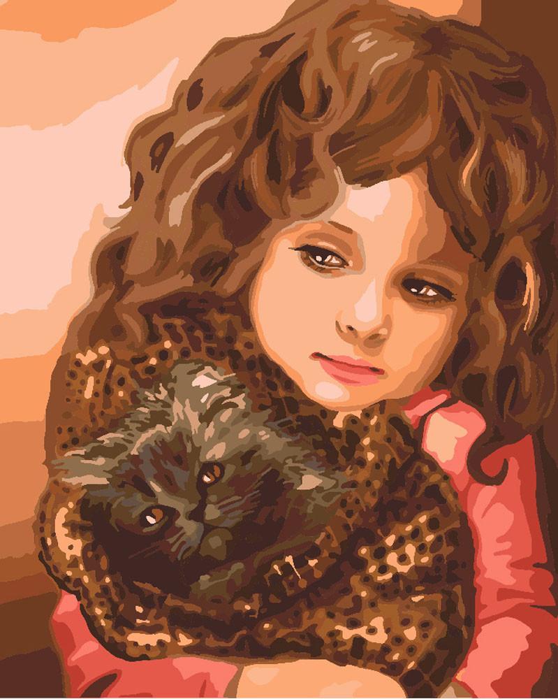 Картины по номерам - Малышка с котенком
