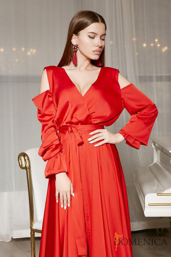 b2d845e1efa ... Шелковое длинное платье с вырезом на спине и открытыми плечами  tez31031229