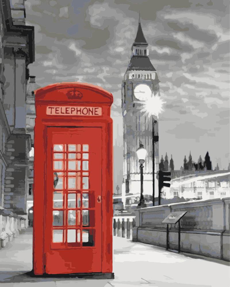 Картина по номерам - Телефонная будка