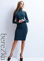 Облегающее платье в рубчик с воротником поло, фото 1