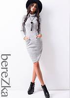 Трикотажное платье с длинными рукавами и карманами спереди , фото 1