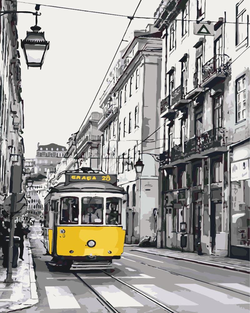 Картина по номерам - Жёлтый трамвайчик