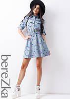 Джинсовое приталенное платье с губами , фото 1