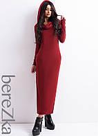 Тёплое удлиненное платье с капюшоном , фото 1