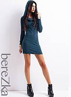 Тёплое платье с капюшоном с молнией по спине, фото 1