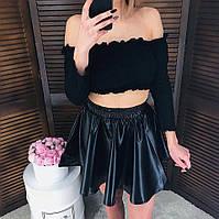 Кожаная короткая юбка-солнце в разных цветах tez651179 00643ca380a97