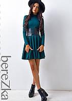 Трикотажное платье c корсетом, фото 1
