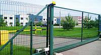 Ворота распашные 2050х4000 мм (2 столба+2 створки ворот) оц. ПВХ. Цвет зелёный