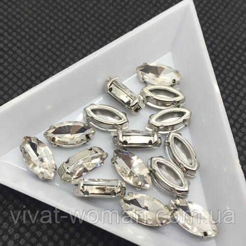 Стрази в цапах, Човник 6х12 мм, Кришталь, скло, срібна оправа. Ціна за 1 шт
