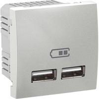 Розетка USB Алюминий Unica Schneider, MGU3.418.30