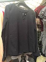 Блуза женская стильная прямого фасона в мелкий горошек