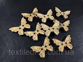 Деревянная бабочка пришивная 30х22 мм