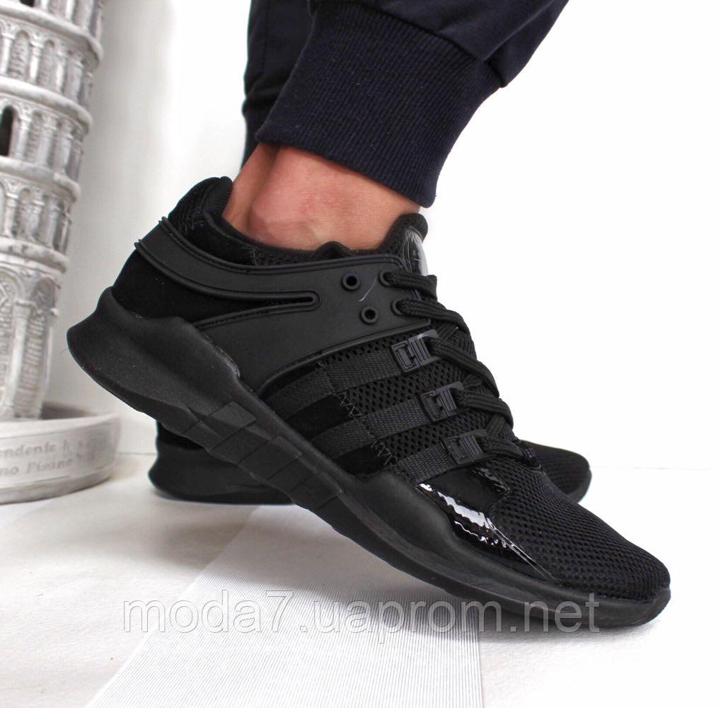 Кроссовки мужские черные Adidas EQT Back сетка реплика