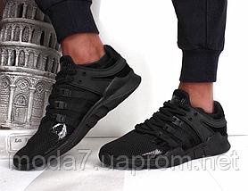 Кроссовки мужские черные Adidas EQT Back сетка реплика, фото 3