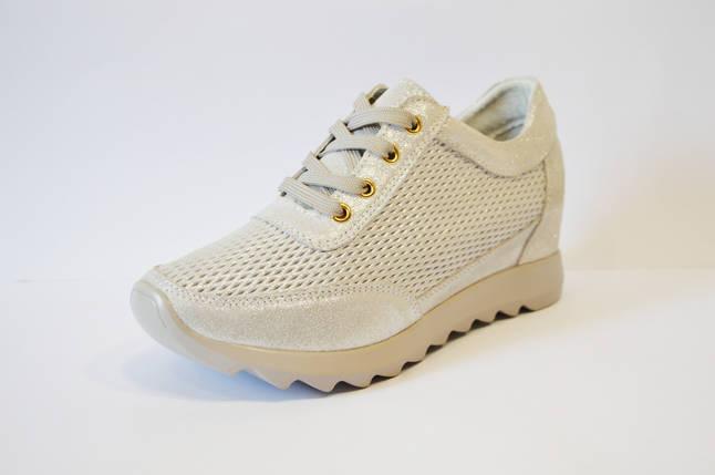 Кроссовки на танкетке светло-серебристые Allshoes, фото 2